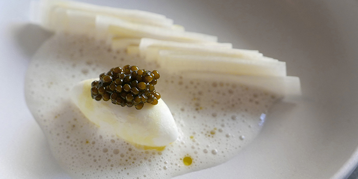 White Asparags Burrata Ice Cream with Parmesan Custard Caviar from Cure Singapore on Keong Saik Road, Singapore