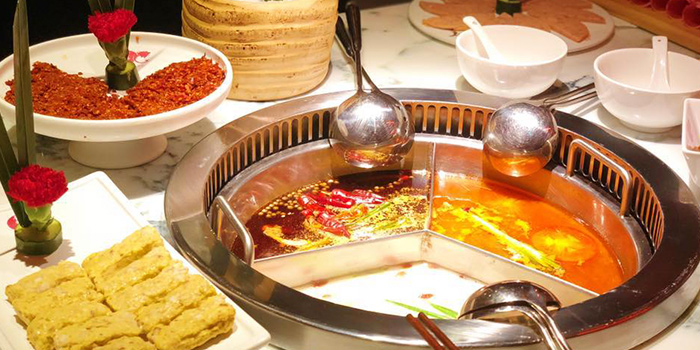 Soup Options from Spice World Hotpot in Clarke Quay, Singapore