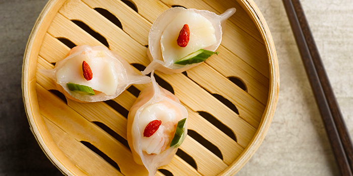Steamed Asparagus Scallop Dumpling from Szechuan Kitchen at Fairmont Singapore in City Hall, Singapore