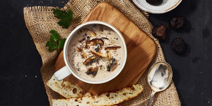 Wild mushroom Soup With Truffle from Topknot Rooftop Bar & Restaurant at Hotel Once Bangkok 2074/99 Charoenkrung 72/2 ,Bangkorlaem Bangkok