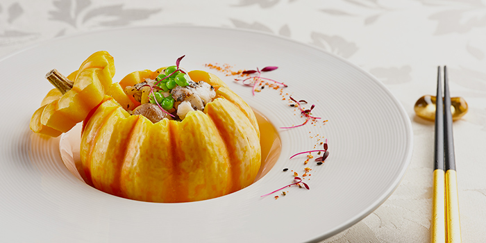 Stir-fried Lobster with Truffle Sauce served in Pumpkin from Hai Tien Lo in Pan Pacific Singapore in Promenade, Singapore