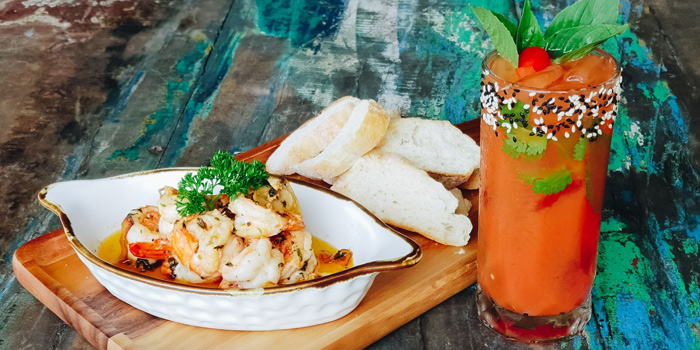 spanish-style-gambas-and-tropical-mary from Chalong Bay Distillery & Restaurant in Chalong, Phuket, Thailand