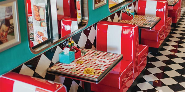 Single Booth Seating at Cosmic Diner Sanur Arcade