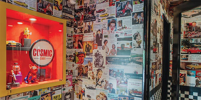 Wall Decoration at Cosmic Diner Sanur Arcade