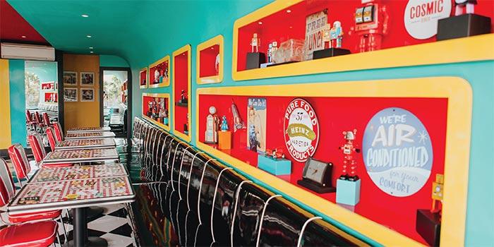 Second Floor Seating at Cosmic Diner Sanur Arcade