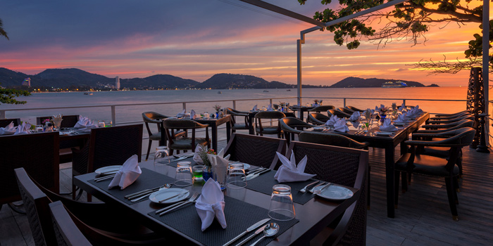 Sunset of White Box Restaurant in Patong, Kathu, Phuket, Thailand
