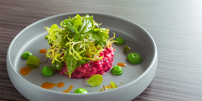 Beetroot green apple tartar from Oceanfront Restaurant in Kok-Tanode Road Karon Muang Phuket, Thailand