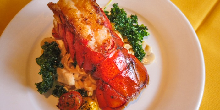Grilled US Lobster with Ee-Fu Pasta and Crispy Kale from Shashlik Restaurant at Far East Shopping Centre in Orchard, Singapore