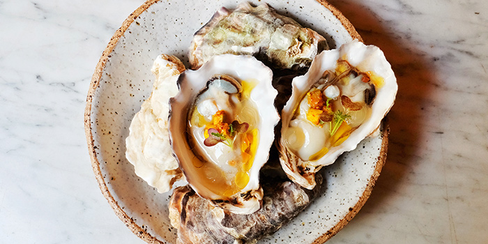 Oysters with Green Mango Chutney from Morsels in Dempsey, Singapore