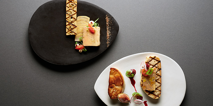 Mosaic of Foie Gras Terrine & Pan Seared Foie Gras from Racines at Sofitel in Tanjong Pagar, Singapore