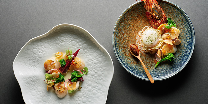 Pan Seared Atlantic Scallops & Singapore Style Seafood Laksa from Racines at Sofitel in Tanjong Pagar, Singapore
