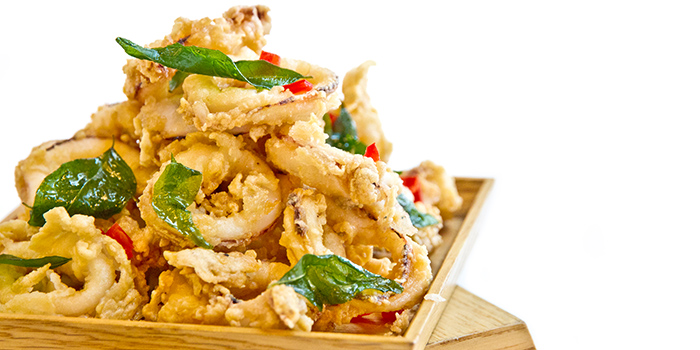 Salted Egg Squid from Gin Khao (SAFRA Tampines) in Tampines, Singapore