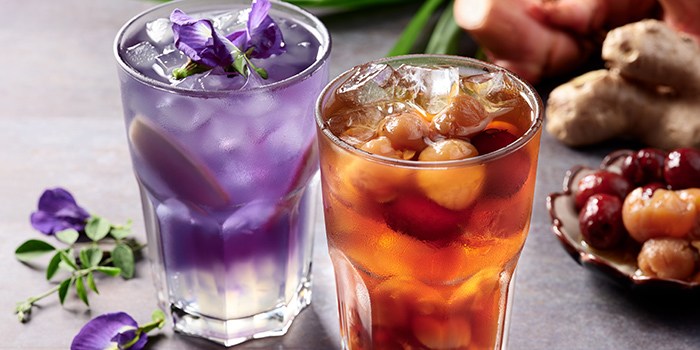 Blue Pea, Ginger & Honey Infusion and Longan from Indigo Blue Kitchen in Orchard, Singapore