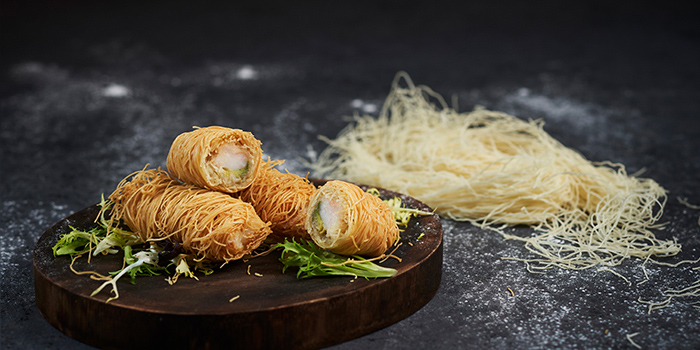 Crispy Vermicelli Roll with King Scallop from Shang Social in Changi, Singapore