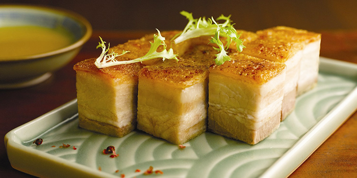 Crispy Skin Roasted Pork Belly from Szechuan Kitchen at Fairmont Singapore in City Hall, Singapore