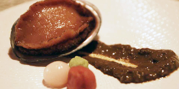 Steamed Abalone with Gut Sauce from TANOSHII in Orchard, Singapore