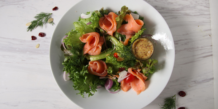 Salmon Salad from The H Cafe by Khaniece at 279 Soi Ramindra65 Khwaeng Tha Raeng, Khet Bang Khen Bangkok