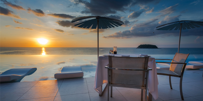 Sunset from Oceanfront Restaurant in Kok-Tanode Road Karon Muang Phuket, Thailand