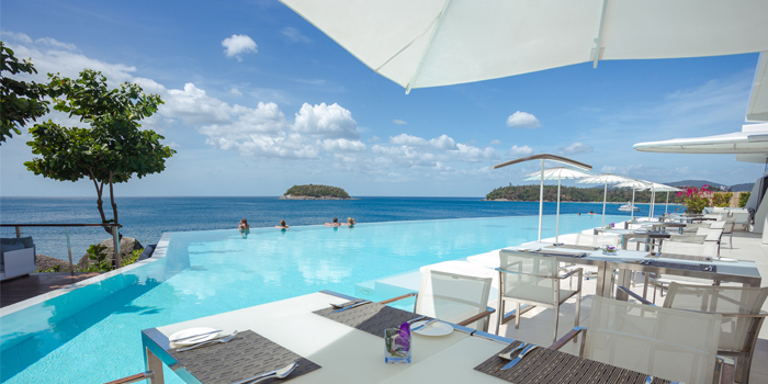 The view from Oceanfront Restaurant in Kok-Tanode Road Karon Muang Phuket, Thailand