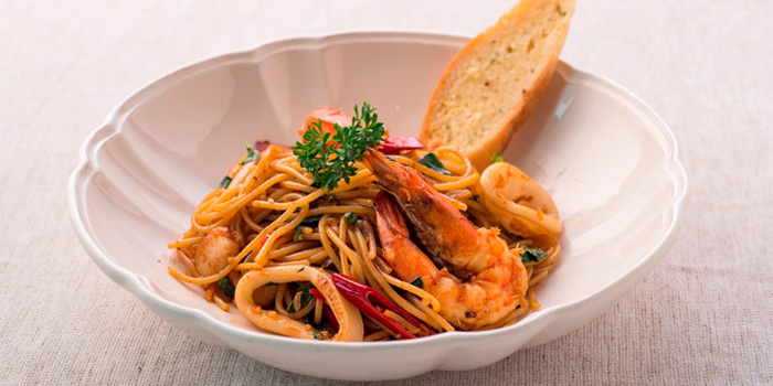 Spaghetti spicy Seafood from Butter Cup at 36 Amari Residence, New Petchaburi Rd Bang Kapi, Huai Khwang Bangkok