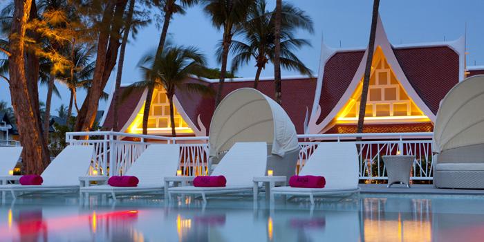 Restaurant-Atmosphere of Xana Beach Club in Bangtao, Phuket, Thailand.