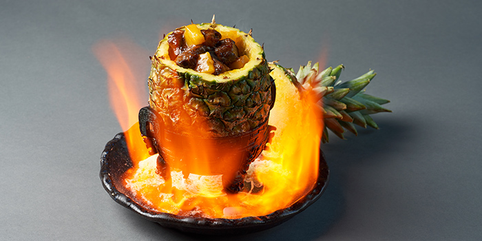 Awesome Flaming Pineapple Beef from Lokkee in Dhoby Ghaut, Singapore