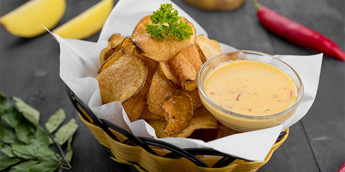 Crispy Potato Chips with Salted Egg Sauce at Ground Up