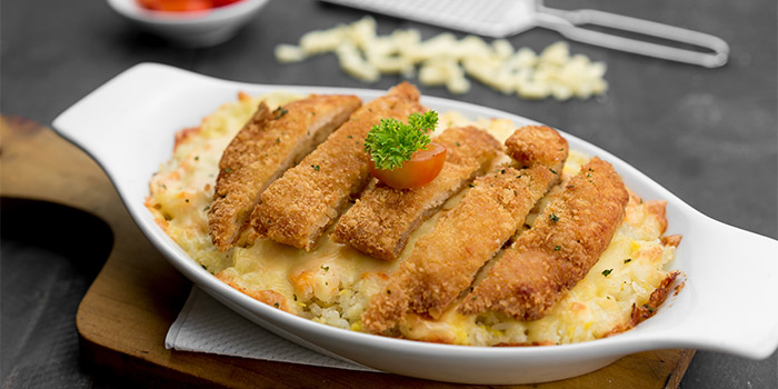 Melted Cheese Rice with Breadcrumb Chicken at Ground Up
