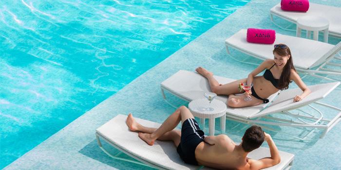 Relaxation of Xana Beach Club in Bangtao, Phuket, Thailand.