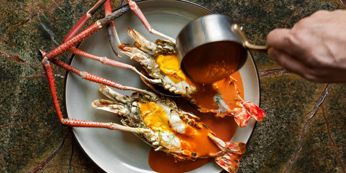 Giant river prawn Choo Chee from the Courtyard at The House on Sathorn, Bangkok