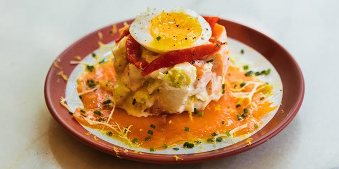 Russian Salad with Smoked Salmon and Soft Boiled Egg, El Cerdo, Wan Chai, Hong Kong
