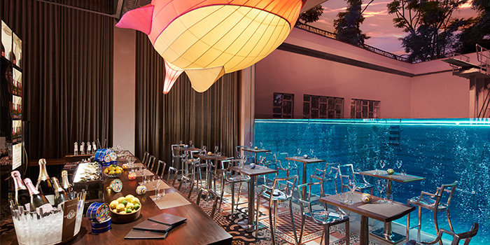Interior of Fish Pool at The NCO Club in City Hall, Singapore
