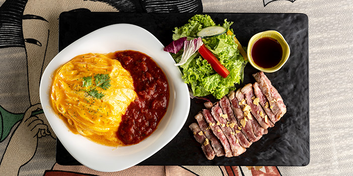 Omurice with Sirloin Steak from Biseryu Japanese Restaurant in Orchard, Singapore