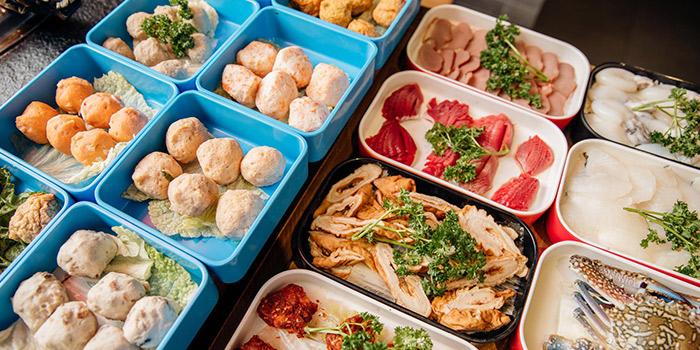 Buffet Spread from Xiao Mu Deng Traditional Hotpot in Chinatown, Singapore