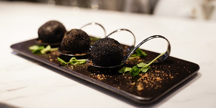 Stuffed Truffle Balls with Minced Meat and Mushrooms, SHÈ, Central, Hong Kong