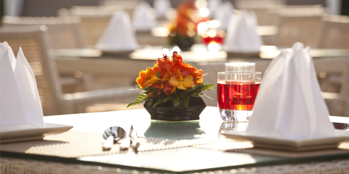 Table Setting of Baan Talay in Bangtao, Phuket, Thailand.