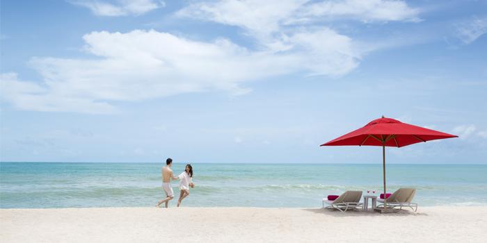 Beach Side of Xana Beach Club in Bangtao, Phuket, Thailand.