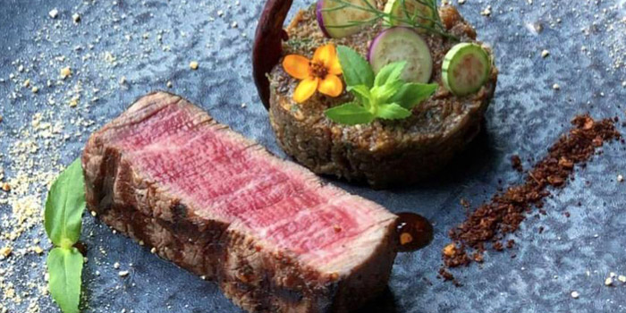 Beef Tenderloin with Eggplant Tartare from 100 Mahaseth at 100 Mahaseth Road Siphraya, Bangrak Bangkok