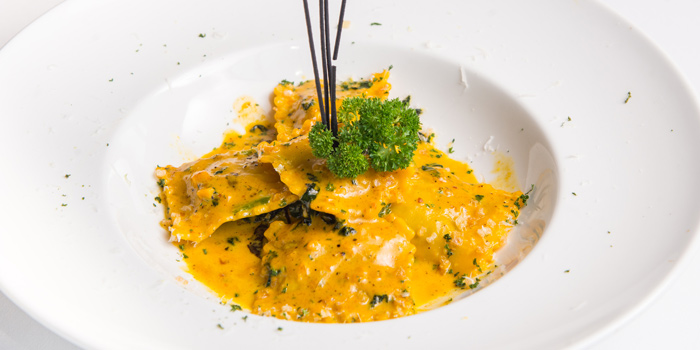Ricotta Spinach Ravioli from Medinii at The Continent Hotel Bangkok by Compass Hospitality 413 Sukhumvit Road. Klongtoey, Wattana Bangkok