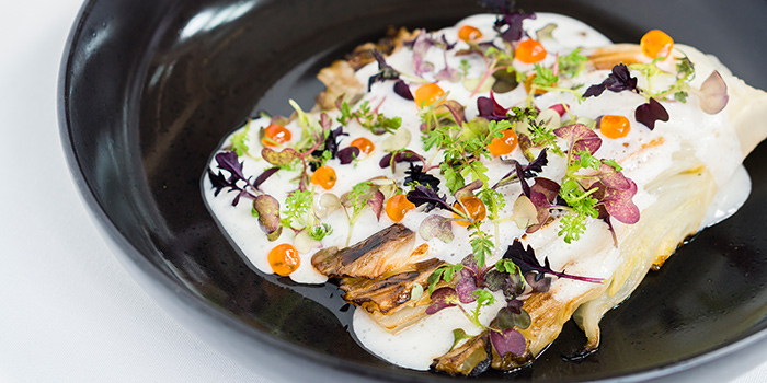3 Style Roasted Cabbage, Sour Cream, Seasonal Herbs from Sinfonia Ristorante in Boat Quay, Singapore