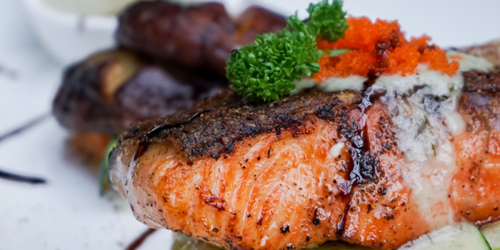 Grilled Salmon from Clockwork Bar & Restaurant  at CoCoWalk Thanon Phetchaburi, Ratchathewi Bangkok
