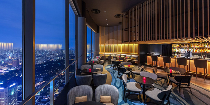 Interior of SKAI Bar at Swissotel the Stamford in City Hall, Singapore