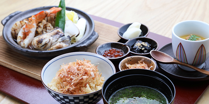 Japanese Prawn, Scallop & Oyster Toban Yako Set Lunch from MAI by Dashi Master Marusaya in Outram, Singapore
