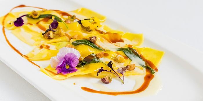 Pumpkin Casoncelli, Taleggio Sauce, Veal Jus, Roasted Pistachio from Sinfonia Ristorante in Boat Quay, Singapore