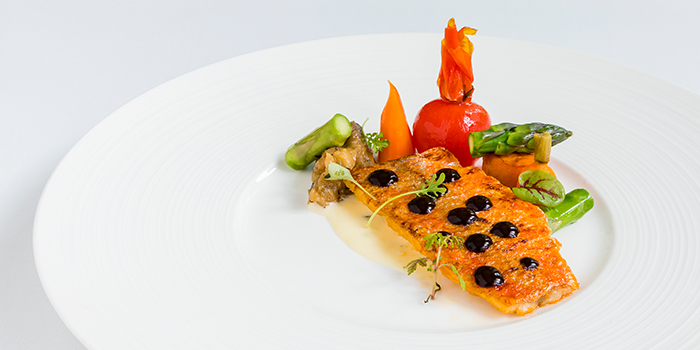 Red Mullet Fillet, Lemon Butter Sauce, Dill, Seasonal Vegetables from Sinfonia Ristorante in Boat Quay, Singapore