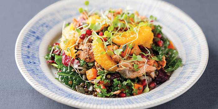 Roasted Beetroot & Squash Salad With Hot Smoked Salmon, Jamie
