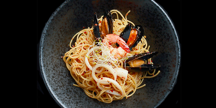 Seafood Aglio Olio from 5 Senses Bistro (Funan Mall) at Funan Mall in City Hall, Singapore
