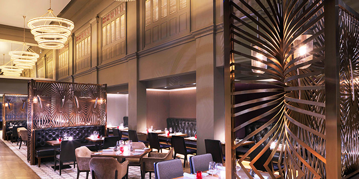 Evening Interior of Ash & Elm in InterContinental Singapore in Bugis, Singapore