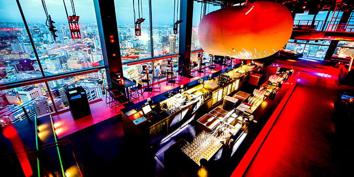 Interior of Bar Rouge at Swissotel the Stamford in City Hall, Singapore