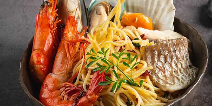 Spaghetti Seafood Aglio Olio from Bijan Restaurant at Grandlink Square in Paya Lebar, Singapore